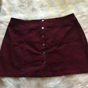 Deep red button up skirt new with tags